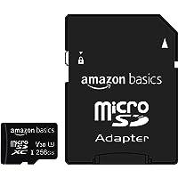 Amazon Basics - microSDXC-Speicherkarte, 256 GB, mit großem Adapter, A2, U3, lesegeschwindigkeit von bis zu 100 Mbit/s