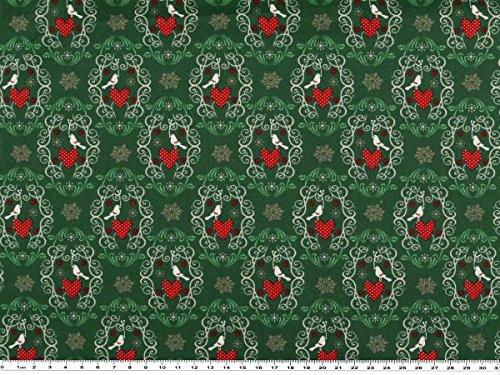 , Herzen und Vögel, grün, 140cm (Herz-deckchen)