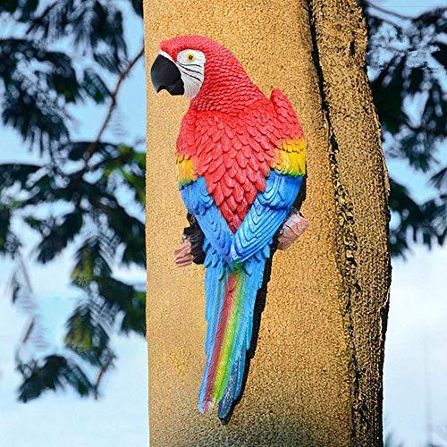 Papagei Harz Statue hängende Dekoration, wie EIN echter Papagei Patio Rasen Wand Dekor für Naturliebhaber Tropische Vogel Sammler ()