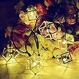 SUAVER Guirnaldas Luminosas Exterior, 15.7ft 20 Solar Cadena Luces Luces de Linterna de Metal geométrico Adorno,Luces de decoración para Navidad Patio jardín árboles Fiestas de Bodas (Poliédrico)