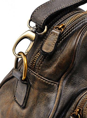 Ira del Valle, Borsa Donna, In Vera Pelle, Vintage, Borsa tracolla donna, Modello California Bag, Made In Italy Grigio topo