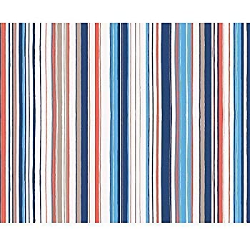 AS Creation Oilily Stripe Pattern Fabric Textured Embossed Striped Wallpaper Blue White Red 961281