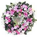 30cm Artificial Lilac & Pink Rose Wreath / Candle ring for in or outdoors - Home Grave Wedding by FS