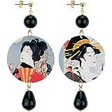 IN Lebole Collezione The Circle DOR192 Geisha Orecchini da Donna in Ottone Pietra Nera