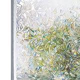 Homein Fensterfolie Selbsthaftend 3D Fenster Dekorfolie Sichtschutzfolie Folie für Sichtschutz Blickdicht Durchsichtig Glastür Selbstklebend Lichtspiel Motiv Glanzoptik Farbig Bruchglas 44.5 x 200 cm