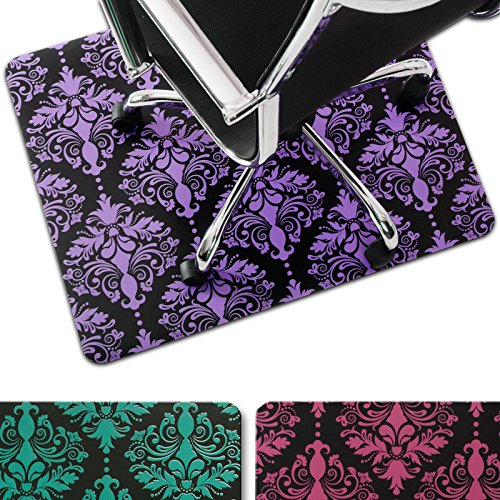 casa pura® Bodenschutzmatte Susanna | ausgefallenes Ornament Design | ca. 91x73 cm | für Teppich und Hartboden | Unterseite mit Antirutsch Beschichtung | Farbe Lila Ausgefallene Esstisch