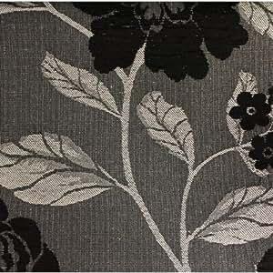 Diamante DB20Étui à rabat motif floral tissu/tissu rideau par le mètre en noir/gris