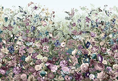 *Komar XXL4–035368x 248cm Botanica blühenden Botanischer Garten Tapete Wandbild–Violett (4Stück)*
