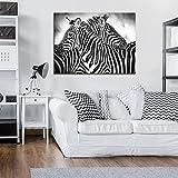 DekoShop Leinwandbild Wandbild Kunstdruck Zebra Weiss-Schwarz AMDPP10159O1 O1 (100cm. x 75cm.) Canvas Wandbilder XXL Überraschungsaufkleber Gratis!