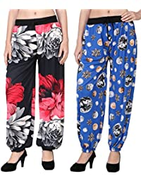 Adonia Women's Poly-Knit Lycra Printed Harem Pants ( Combo Of 2 ) - B0751DDV12