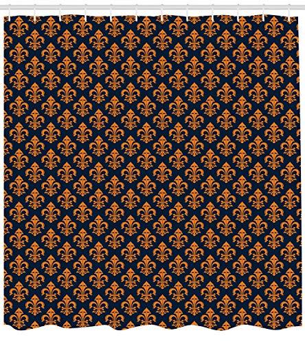 ABAKUHAUS Fleur De Lis Duschvorhang, Westliches Symbol, mit 12 Ringe Set Wasserdicht Stielvoll Modern Farbfest und Schimmel Resistent, 175x180 cm, Orange Indigo