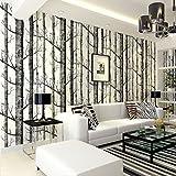 Moderne Tapete Abstrakter Baum Zweig Baumstamm Nicht - Gewebt Stil Birkenwald Tapete,BlackWhite-OneSize