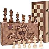 aGreatLife Königliches Schachspiel aus Holz handgefertigt - Hochwertiges Schachbrett aus Echtholz magnetisch - Wooden Chess Set - Schachkassette Mittelalter klappbar 38x38 mit Aufbewahrungsbox