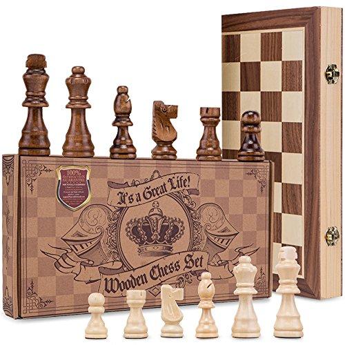 aGreatLife® Königliches Schachspiel aus Holz handgefertigt - Hochwertiges Schachbrett aus Echtholz magnetisch - Wooden Chess Set - Schachkassette Mittelalter klappbar 38x38 mit Aufbewahrungsbox