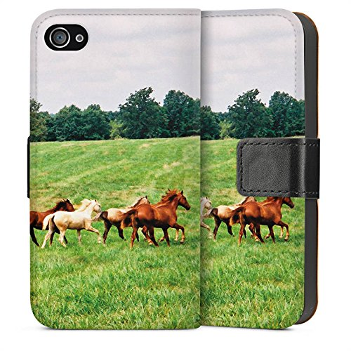 Apple iPhone 5s Housse Étui Protection Coque Chevaux sauvages Mustang Cheval jument horse Sideflip Sac
