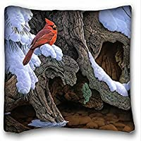 Decorativo Quadrato Throw Pillow Case animali uccelli pittura neve albero uccello Cardinale 18 x 18 in due lati