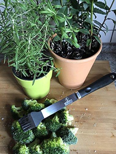 61ljtz%2BtAuL - Ess-Nische Premium Grillpinsel XXL aus Edelstahl mit Silikonkopf/Extra Langer 39 cm Silikonpinsel Zum Grillen, Kochen & Backen Backpinsel