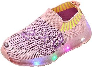 Saingace Baby Toddler Little/Big Kids Girl Boy Mesh Led Light Number Sport Air Casual Anti-Slip Sneaker Running First Walking Shoes