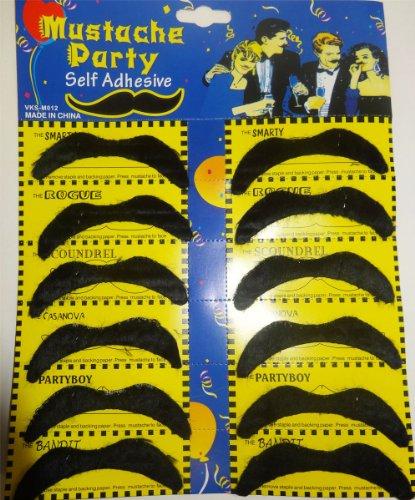 FDC Packungen Mit 12 Verschiedene Mexikanisch Schnurrbart Kostüm Verkleidung Zubehör Bandit Style - (Black Bandit Kostüm)