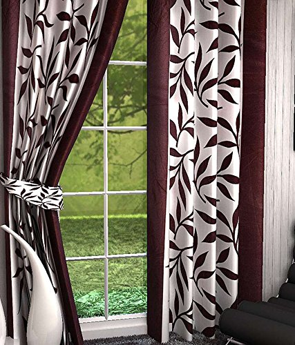 Divine Floral Polyester Curtains (Set of 4), (Brown, 7 Feet x 4 Feet)