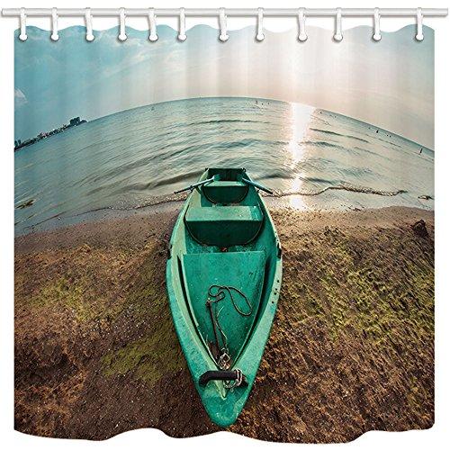 Kotom tende da doccia nautiche, paesaggio con una barca sulla spiaggia del mar nero tende da bagno impermeabili in tessuto al tramonto, 69x70 pollici