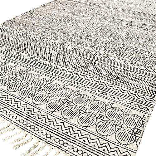 Eyes of India - Weiß Schwarz Baumwolle Block Druckfläche Akzent Dhurrie Teppich Flach zu Weben Gewebt Boho Chic Indische Böhmisch - A-White Schwarz, 8 X 10 ft. (243 X 304 cm)
