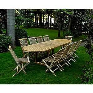 Le Tanimbar : salon en teck massif 12/14 personnes, comprenant 1 table ovale et 10 chaises