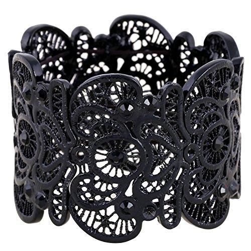 Für immer & Moment Vintage Metal Filigree Stretch Armreif Armband Für Frauen 20 cm(Schwarz)