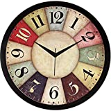 IT2M 11.75 inches Designer Round Wall Clock with Glass for Home/Kitchen/Living Room/Bedroom (9042B)