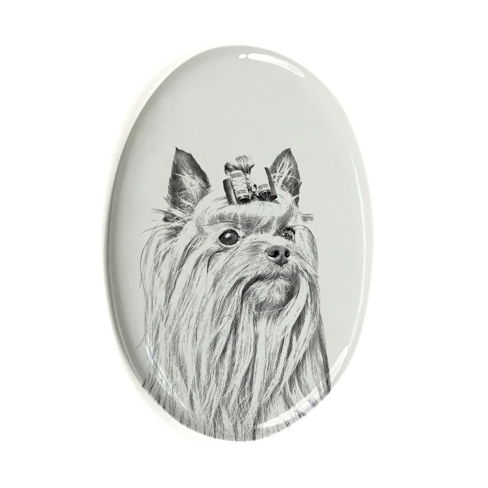 ArtDog Ltd. Yorkshire Terrier, oval gravestone from ceramic tile with an image of a dog