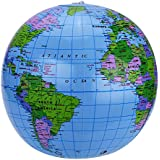 Shappy Global 2 Pack 16 Inches Inflatable Globe World Globe for Teaching, Learning, Playing and Party, PVC Material