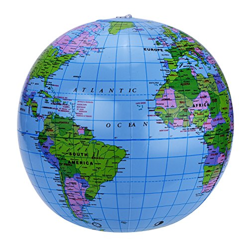 Shappy Globale 2 Packung 16 Zoll Aufblasbare Globus Welt Globus Drdkugel für Lehren, Spielen und Party, PVC Material