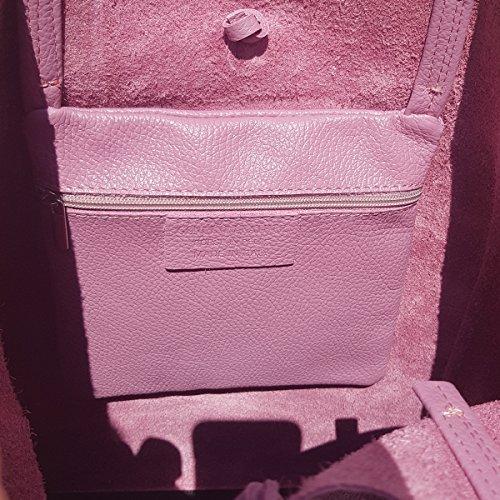 Damen Echtleder Shopper mit Innentasche in vielen Farben Schultertasche Henkeltasche Metallic look Mauve
