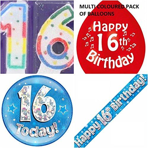 16. Geburtstag für Jungen, Alter: 10, Set mit Banner, Ballons, Kerzen-Logo