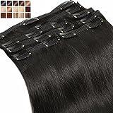 S-noilite® Extensions de Cheveux Humains a Clips 8 Bandes Noir - Double Weft - Maxi Volume - 100% Remy Hair - Meilleure Qualité (50cm-150g, #01)