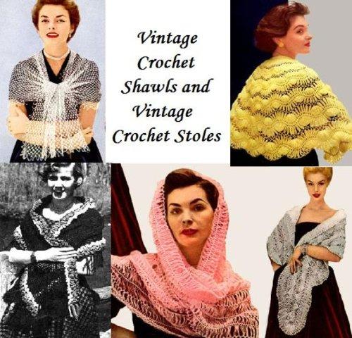 Vintage all'uncinetto scialli e Vintage Crochet (Scialle Pattern Maglia)