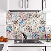 Ambiance-Live 24pegatinas adhesivos carrelages | adhesivo adhesivo azulejos–Mosaico Azulejos de pared de baño y cocina | azulejos adhesiva–Mandala–10x 10cm–24piezas