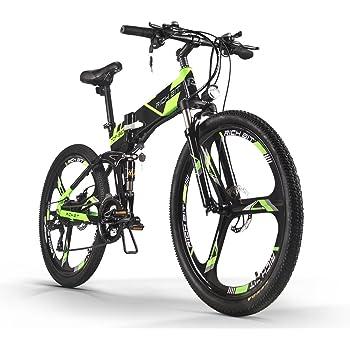 Bicicletta Eléctrico Bicicletta de montaña MTB hombres bici Ciclismo Rich Bit® RT860 36V*250W 21 Velocidad Shimano Marco plegable de aluminio Suspensión doble suspensión de aire trasero Doble disco de freno Verde Negro