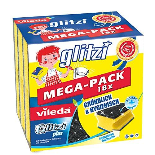Vileda 148397 Glitzi Plus mit Antibac - 18er Sparpack - Gründlich, hygienisch & saugstark