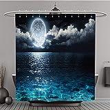 Duschvorhang 252427771Romantische und Scenic Panorama mit Polyester-Full Moon On Sea to Night-Bad Vorhang