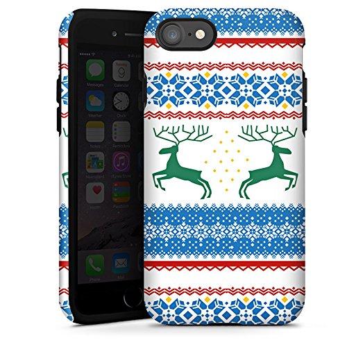 Apple iPhone X Silikon Hülle Case Schutzhülle Norwegen Muster Rentiere Tough Case glänzend