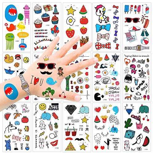 Konsait Kindertattoos Set klebetattoos temporäre Tattoos Kinder Aufkleber Sticker für Mädchen Jungen Kinder Spielen Kindergeburtstag Mitgebsel (250 Tattoos)