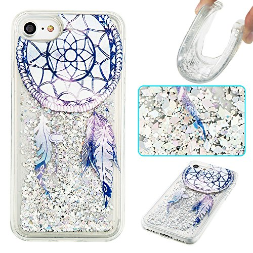 Ooboom® iPhone 5SE Hülle TPU Silikon Bumper Schutzhülle Handy Tasche Case Cover mit Funkeln Glänzend Bling Glitter - Gold Blätter Traumfänger Blau