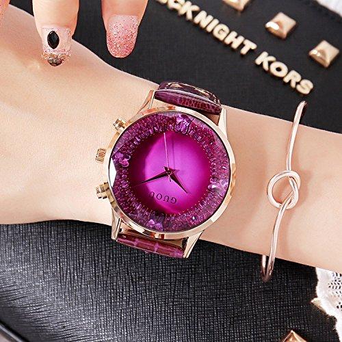 Meine Uhren, Luxus - Schöne, Große Wählen, Rot - Lila Leder - Armband, Damenuhr,D