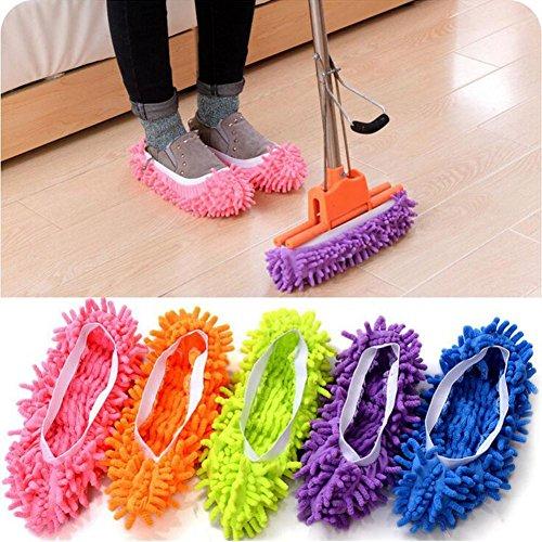 HCFKJ 1 Para Mop Slipper Bodenpolieren Abdeckung Reiniger Faul Staub Reinigung Fuß Schuhe (Füße Lustige Schuhe)