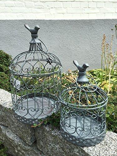 Dekokäfig Pflanzkäfig Käfig Vogelkäfig Windlicht 2er Set Garten Deko Shabby Grau