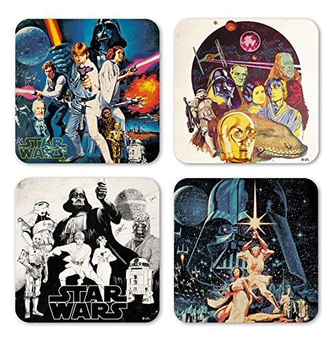 Coaster Set (LOGOSHIRT - Star Wars 4er Untersetzer Set - Krieg der Sterne Coaster Set - Lizenziertes Originaldesign)