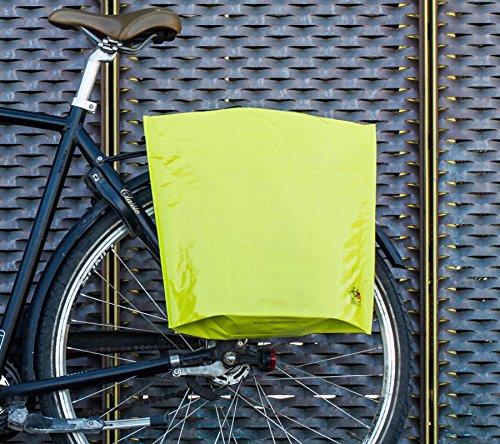 BIKEZAC® Clip-On EINKAUFS-FAHRRADTASCHE | Einseitige Einkaufstasche | Gepäckträgertasche | Faltbar | Wasserabweisend | Trageschlaufen | Ökologisch, BikeZac:Green Plain