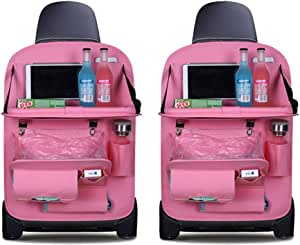 Cbpe Auto Organizer Auto Rückenlehnenschutz Mit Klappbarem Tisch Pu Leder Auto Rücksitz Für Kinder Babyspielzeug Und Tablette 2 Stück Rosa Sport Freizeit
