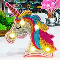 DIY Unicorn Diamond Painting Lamp with LED Lights Full Drill Crystal Drawing Kit Bedside Night Light Arts Crafts for Home Decoration or Christmas Gifts 6.0x6.0inch